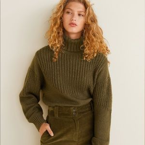 Mango Sweaters - Mango Army Green Turtleneck Sweater